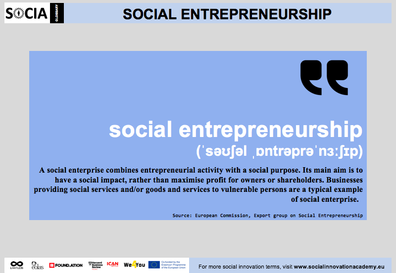 Social Entrepreneurship Definition Social Innovation Academy